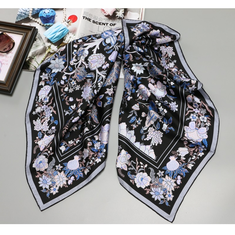 Floral Print Large Square 100% Twill Silk Scarf Shawl Hijab Head Scarves For Hair Wrapping 88x88cm