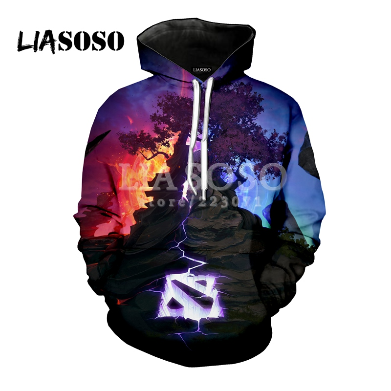 LIASOSO Summer New Fashion Men Women Sweatshirt 3D Print Video Game Dota 2 Hoodies Long Sleeve Hip Hop Harajuku Pullover D029-11