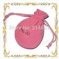 (100 pçs/lote) Tamanho 7x9 cm qualidade velvet bolsa com cordão sacos do presente com logotipo da marca