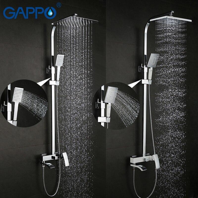 GAPPO conjunto torneira do chuveiro de bronze torneira da banheira torneira misturadora cachoeira parede do chuveiro cabeça de Chuveiro Do Banheiro Do cromo conjunto GA2407 GA2407-8