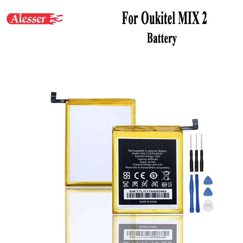 Alesser For Oukitel MIX 2 Battery 4080mAh 100% New Replacement Accessory Accumulators For Oukitel MIX 2 Cell PhoneAlesser For Oukitel MIX 2 Battery 4080mAh 100% New Replacement Accessory Accumulators For Oukitel MIX 2 Cell Phone