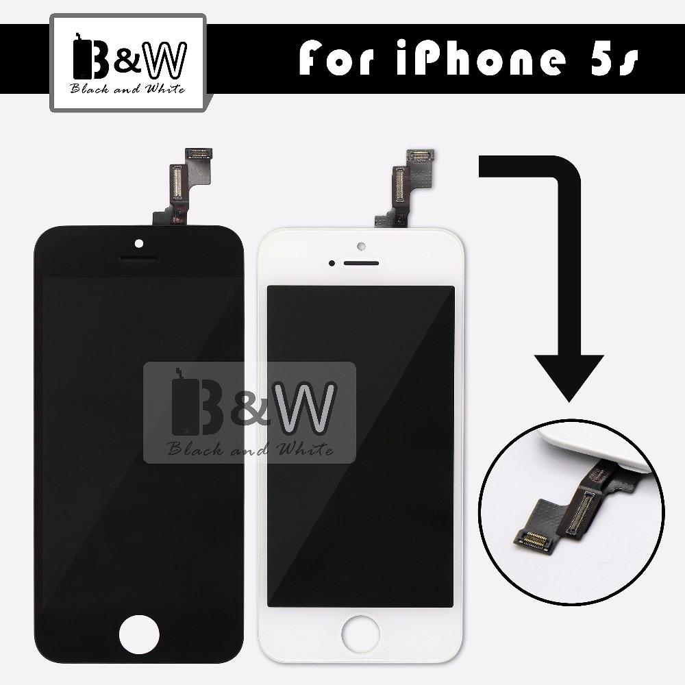 Prix pour 10 pcs/lot blanc et noir lcd écran pour iphone 5s avec écran tactile digitizer et cadre assemblée remplacement bateau libre