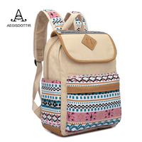 Top Quality National Style Canvas Women Backpack Casual College Bookbag Female Retro Stylish Daily Travel Backpacks