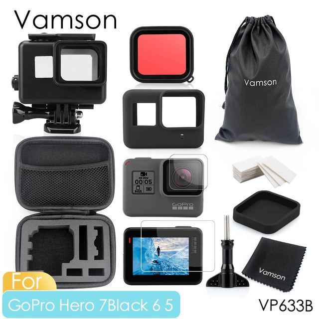 Vamson  for Go Pro 60m Underwater Waterproof Case for GoPro Hero 7 6 5 Black Accessory Kit Diving Protective Cover Housing VP633