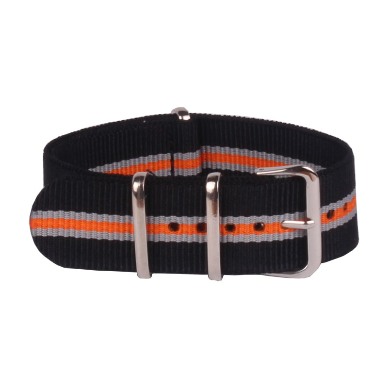 buy 2 get 10% off) 22mm Nato Nylon Watch Black/Grey/Orange Stripes Army Military fabric Woven watchbands Strap Band Buckle belt
