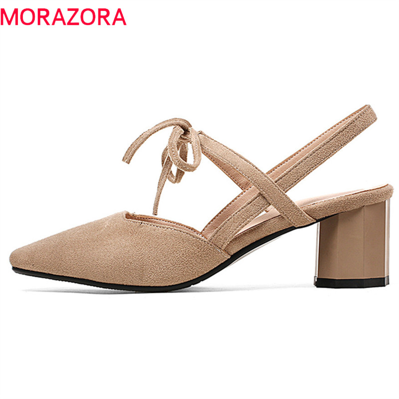 MORAZORA new arrive women pumps hot sale fashion pointed toe shallow classic flock lace up siaze 33-44 simple high heels shoes цена