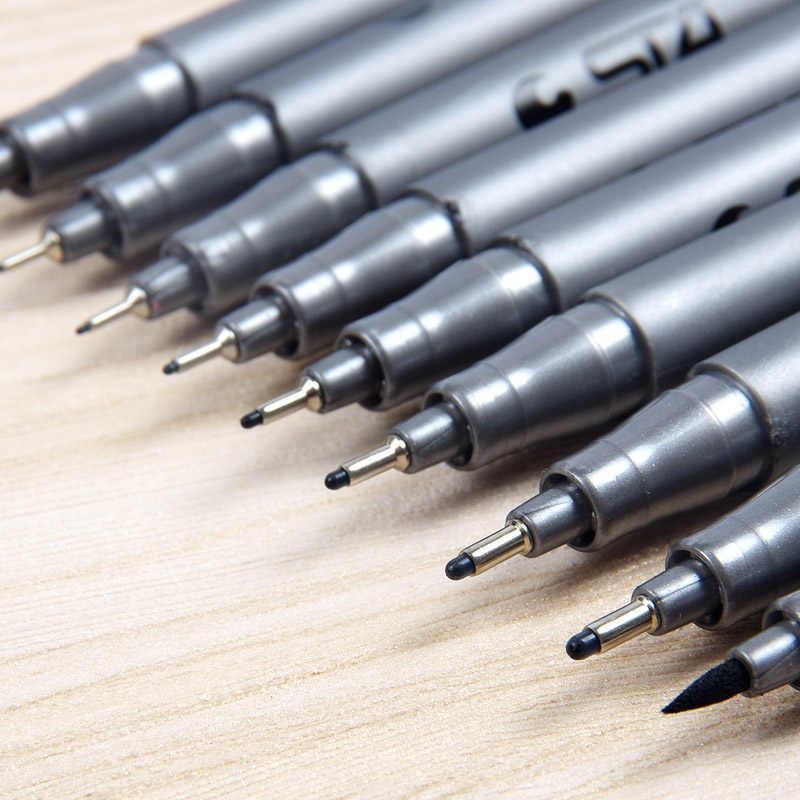 9 pcs/lot STA marqueurs de brosse à base d'eau différentes tailles Pigment Liner triangulaire Fineliner stylos pour Art fournitures papeterie