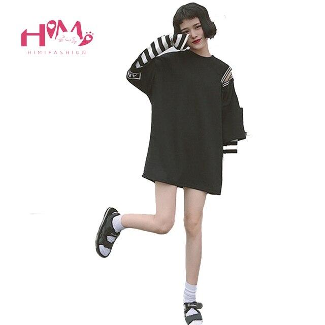 1c3992e321d2 € 16.24 9% de DESCUENTO|Harajuku Street Off Shoulder mujer camiseta coreana  Ulzzang rayas gráfico Tops 2019 Casual Oversize negro femenino Punk ...