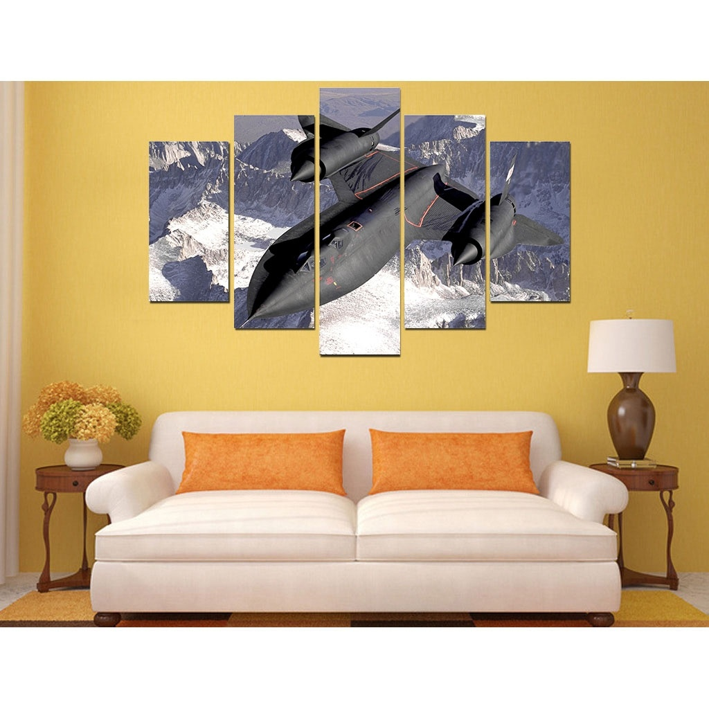 2017 picture print painting Stealth Fighter canvas wall art 5 panel ...