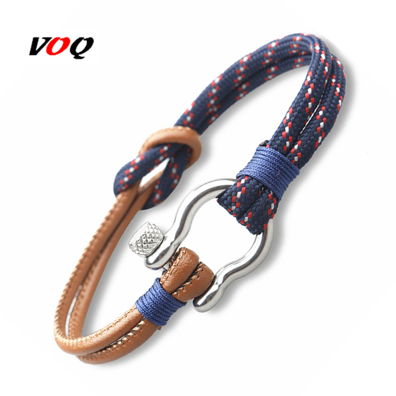 2017 Navy Style Sport Camping Parachute Cord Survival Bracelet Men Stainless Steel Shackle Buckle Jewelry pulseira masculina