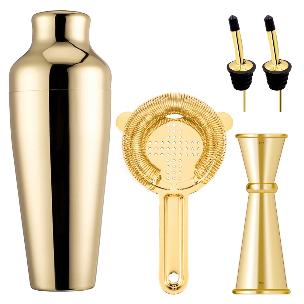 Homestia Parisian Cocktail Shaker Set Bartender Kit 4 pieces 20oz Martini Shaker,Hawthorne Bar Strainer,Double Jigger,Cocktail Spoon with Muddler Top Copper Plated