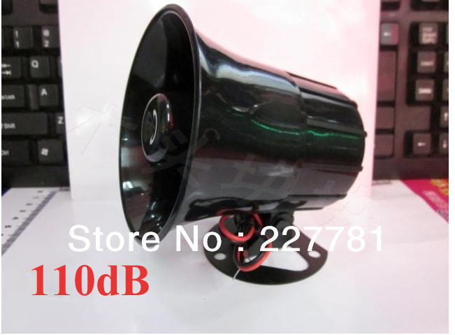 110dB Volume Wired Big Black Siren Horn 12VDC Alarm Siren Horn For Security Product