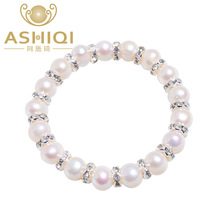 ASHIQI 9-10mm Real Freshwater pearl Bracelets for women Charm Bohemian