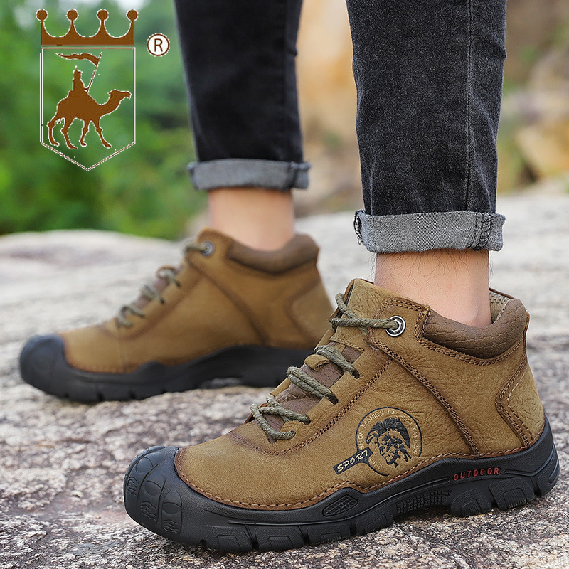 BACKCAMEL New Outdoor Shoes Men Non-slip Shock Absorber Shoes Wear Warm Boots Winter Leather Shoes Thick Bottom Slip Size 39-46