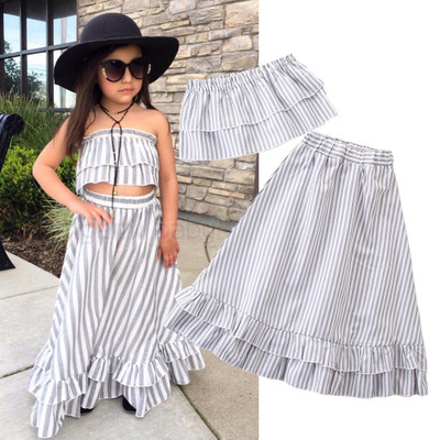 Baby Girls Summer Clothes Set Vertical Striped Tops Long Skirt Children Princess Party Skirts Outfit Clothes