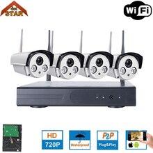 Stardot Беспроводной безопасности Камера системы видеонаблюдения комплект 4CH Wi-Fi NVR комплект P2P HD 720 P ночного видения Беспроводной CCTV IP Камера