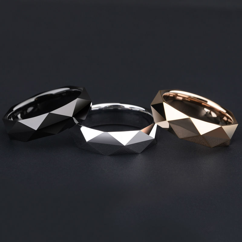 New Arrival High Quality Tungsten Man's Rings for Wedding Prism Design Silver/Black/ Rose Gold Three Colors Free Shipping