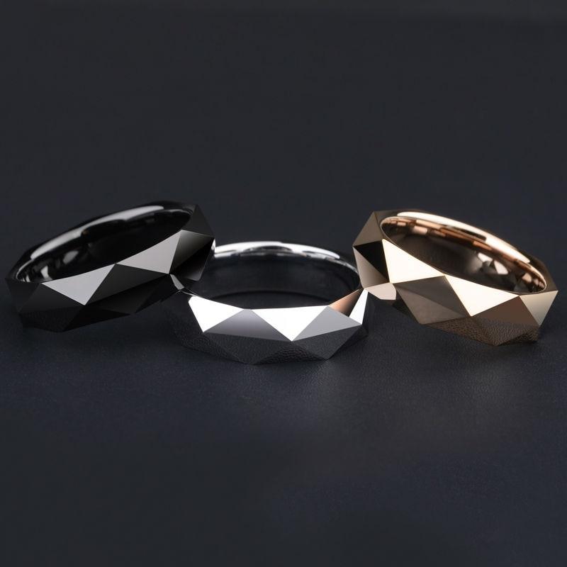 Nouveauté haute qualité tungstène homme anneaux pour mariage prisme Design or/or Rose trois couleurs livraison gratuite
