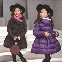 цены Winter Warm Thickened Long Child Coat Children Outerwear Parkas Baby Clothing Windproof Baby Girls Jackets For 3-14 Years Old
