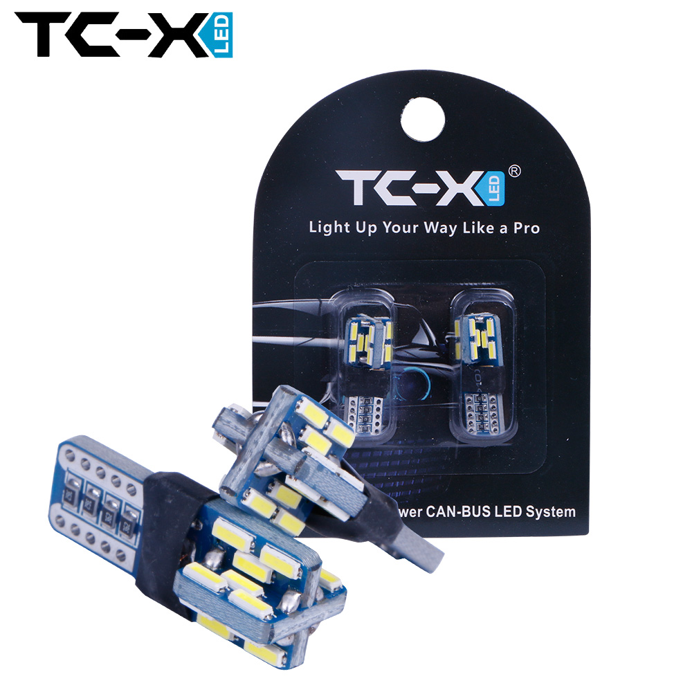 TC-X 2pcs LED Bulbs T10 Canbus Error Free 24leds 4014SMD White 12V Interior Lights Turn Side License Plate Light Car-styling 2pcs brand new high quality superb error free 5050 smd 360 degrees led backup reverse light bulbs t15 for jeep grand cherokee