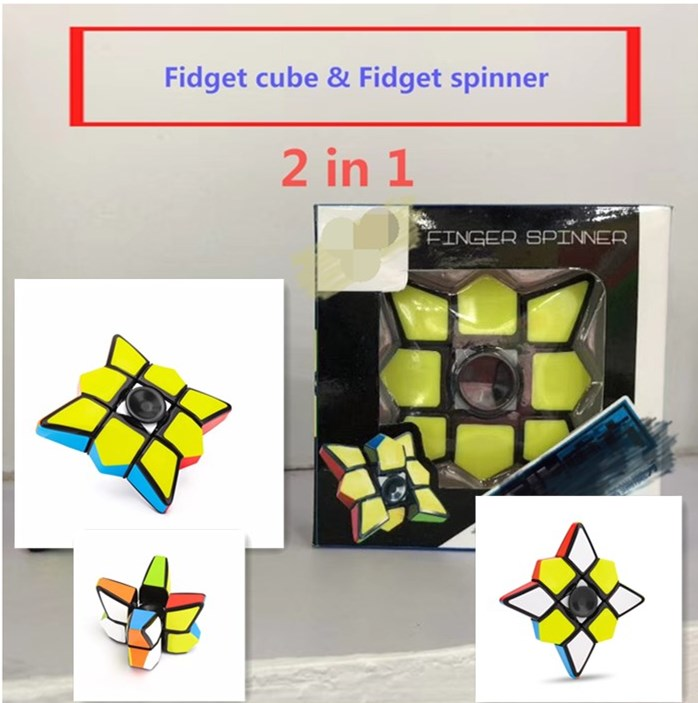 2018 New 2 in 1 updated fidget cube & fidget spinner spinning top magical cube 1x3x3 layer educational toy gift free shipping