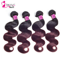 Ms Cat Hair Brazilian Hair Body Wave 4 Pcs/lot 1B/Burgundy Ombre Hair Bundles Weave 99J Red Remy Hair Extensions 10inch-26 Inch(China)