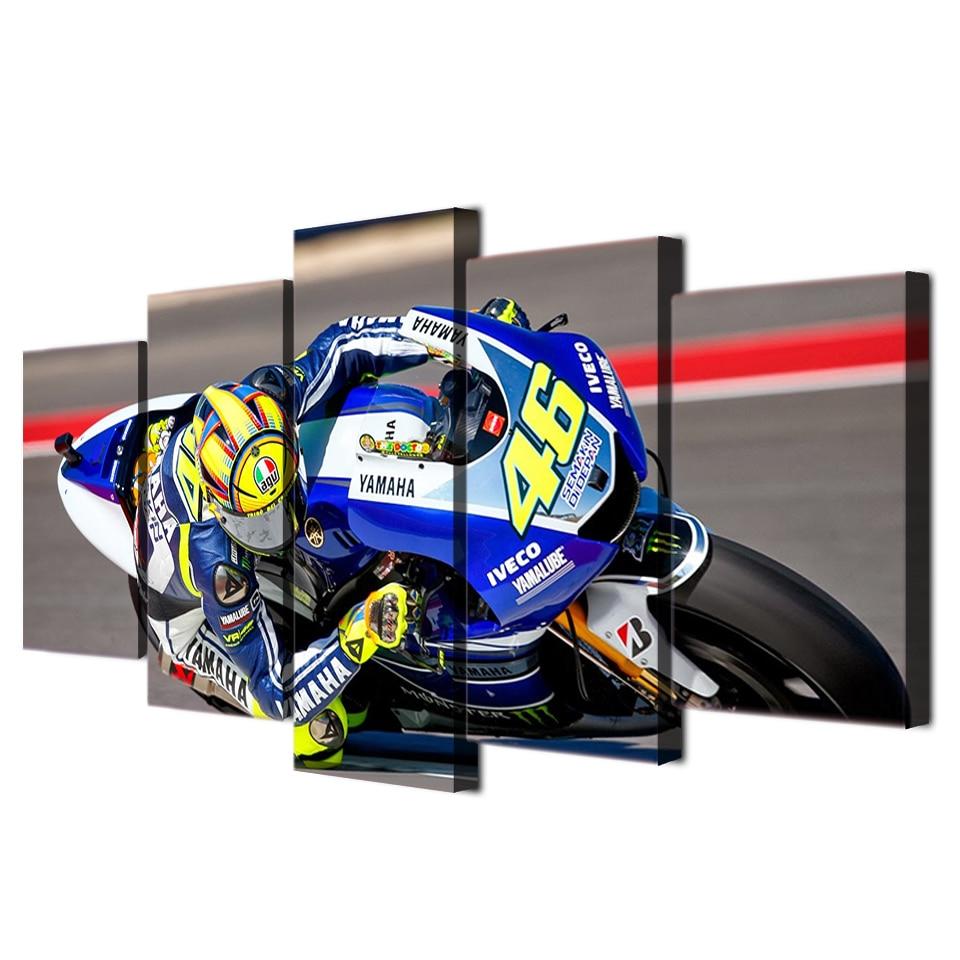 Valentino Rossi Moto Moto Speed Racer Art Pour Salon Chambre Décor À La Maison 5 Piece Peinture Encadrée Toile Mur Art