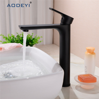 Two Size Bathroom Faucet Black Solid Brass Bathroom Solid Basin Faucet Cold and Hot Water Mixer Single Handle Tap
