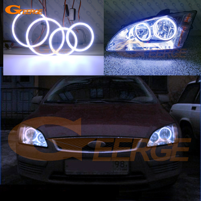 For Ford Focus II Mk2 2004 2005 2006 2007 2008 Europe Excellent Ultra bright illumination COB led angel eyes kit halo rings for alfa romeo 147 2005 2006 2007 2008 2009 2010 headlight ultra bright illumination cob led angel eyes kit halo rings