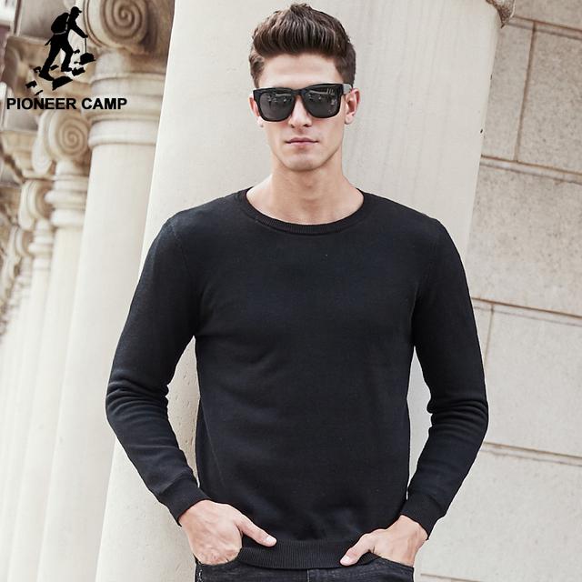 Pioneer camp 2017 nueva negro sólido hombres suéter grueso otoño invierno suéteres de lana gruesa masculina wuyou