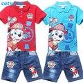 2017 Summer Designer Baby Boys Jeans Set Toddler Kids Cartoon Dog Polo T Shirt+Denim Short Sports Suit New Children Clothing Set