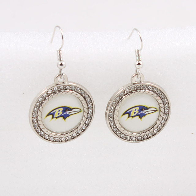 Sports Team Baltimore Ravens American Football Logo Round Crystals Dangle Earring 10 Pairs Lot