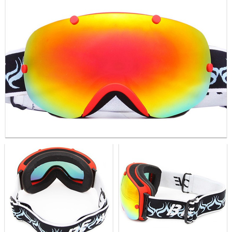 Lunettes de Ski Double UV400 Anti-buée lunettes sphériques professionnelles lunettes de Ski hommes et femmes lunettes de Snowboard multicolores HXJ2300
