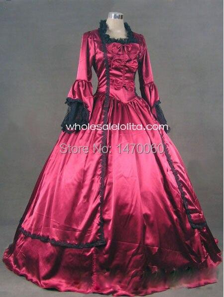 18th siècle vin rouge Satin Marie Antoinette période robe robe de bal/vêtements de Performance