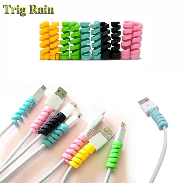 Спиральный защитный кабель для передачи данных, силиконовый наматыватель для iphone, Samsung, Android, USB зарядка, чехол для наушников