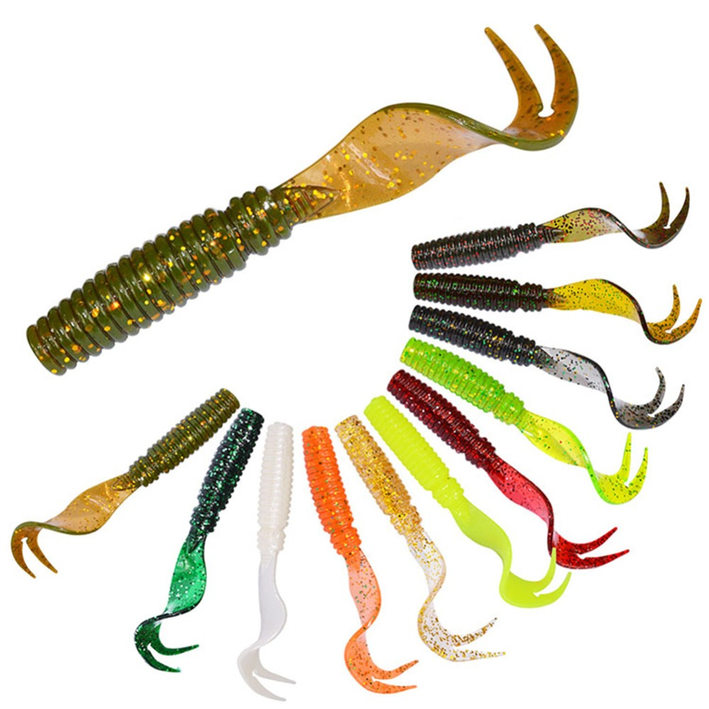 8pc/set Lifelike Soft Artificial Lure Saltwater Freshwater False Double Curl Tail Worm Shape Bait Fishing Lure pesca