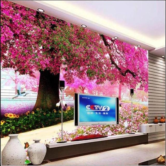 3d Foto Wallpaper Benutzerdefinierten Wandbild Wohnzimmer Frühlingsblume  Große Baum Malerei Sofa TV Hintergrund Vliestapete Für Wände