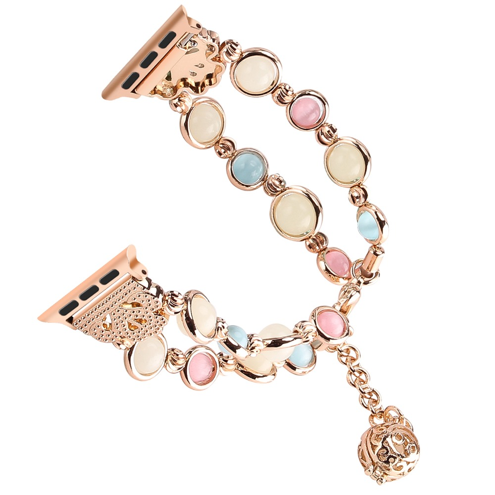 Unique Handmade Apple Watch Band Woman Luminous Pearl Adjustable iWatch Bracelet Metal Link Wristband for Apple Series 1 2 3 4 in Watchbands from Watches