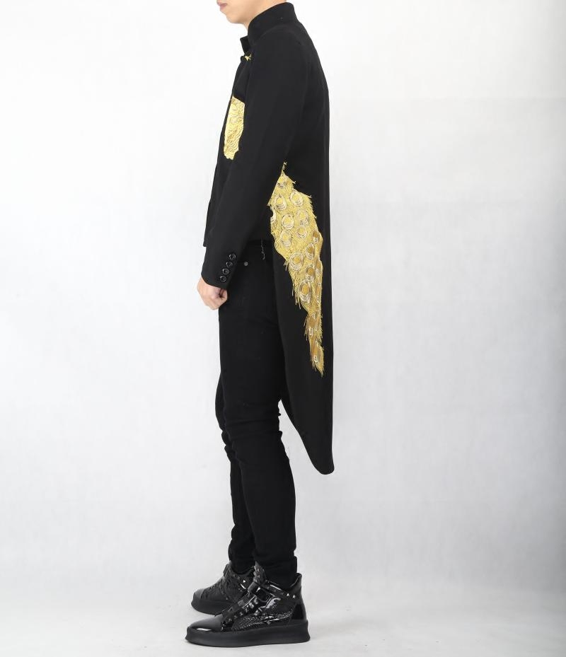 Mens Black Embroidery Long Tailcoat Fashion slim Swallowtail overcoat Male Magician Performance clothes Host Singer Costume