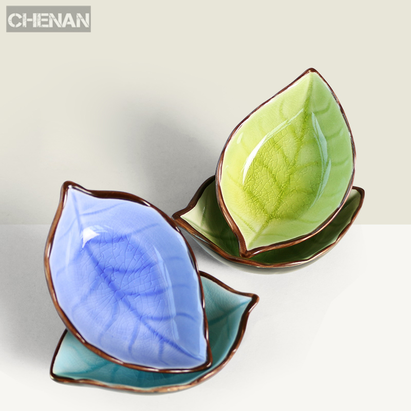 Creative Handcraft Leaves ice crack glaze Ceramic Plates Japanese Sushi Dishes saucer soy sauce dishes Snacks Vinegar small dish