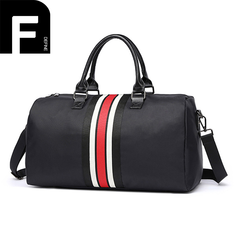 Foldable Men Travel Bag with Colored Stripe Protable Women Tote Waterproof Nylon Travel Duffel Bag Black Weekender Luggage Bag