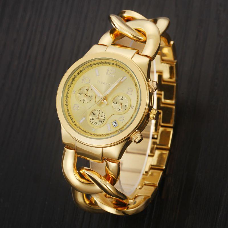 Fashion Women Watch Gold Ladies Bracelet Quartz Watch Day Date Ladies Wristwatches Simple Style Casual Relogio