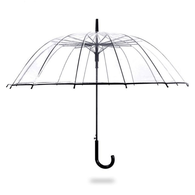 FGHGF High Quality Big Long Handle 16 Rib Transparent Umbrella Male Female Rain Fashion Solid  Automatic Creative Rainy Clear