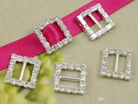 50pcs/lot Fashion 20mm Crystal Rhinestone Square Buckle Ribbon Slider Rhinestone Buckle DIY Candy Box Ornaments wa132h20