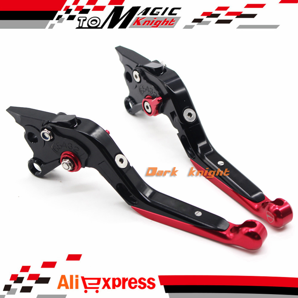 ФОТО For DUCATI 748/S/R 750SS 900SS 1000SS Motorcycle CNC Billet Aluminum Folding Extendable Brake Clutch Levers Black+Red