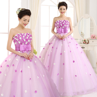 Free shipping flowers strapless pleat mesh light purple women ball gown Quinceanera Dresses quinceanera kjole