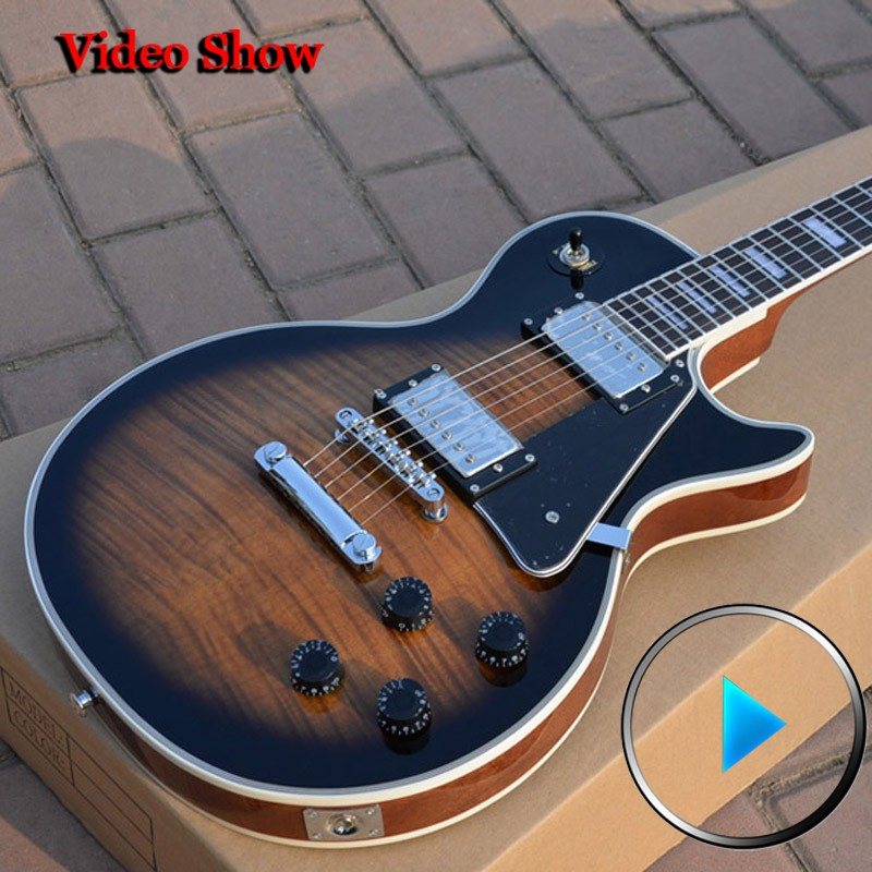 Custom Shop Reverse Burst Flame maple guitar Deluxe completed musical instruments Chinese lp electric guitar free shipping! new china lp guitar custom shop tobacco burst flame maple top electric guitar gold parts free shipping