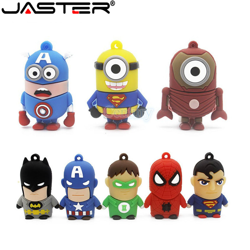 JASTER Pen Drive Cartoon Super Heros Minions USB 2.0 Flash Memory Stick Pendrive 4GB 8GB 16GB 32GB 64GB Usb Flash Drives