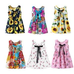 2019 Girls Dresses Summer Kids Clothes Children Sleeveless Flower Print Princess Dress Elegant 1 2 3 4 5 6 7 8 Year Girl Dress(China)
