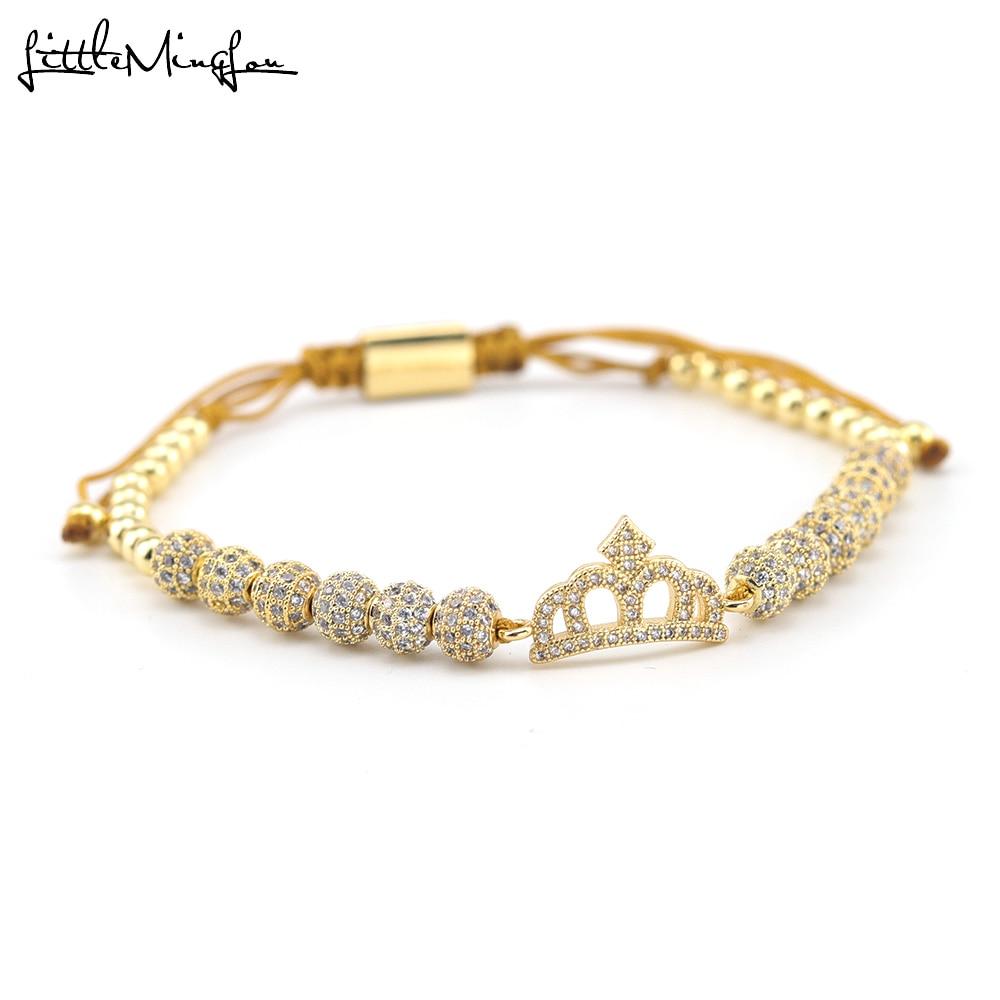 Luxury CZ Queen's Crown bracelet ball Charm copper Beads handmade macrame women Bracelets Bangles for women Jewelry accessories